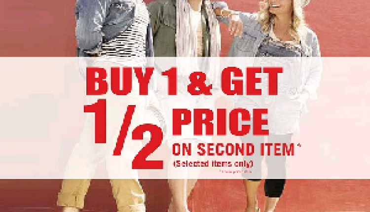 Buy 1 And get 1/2 price on second item Offer at Birkenstock, September 2017