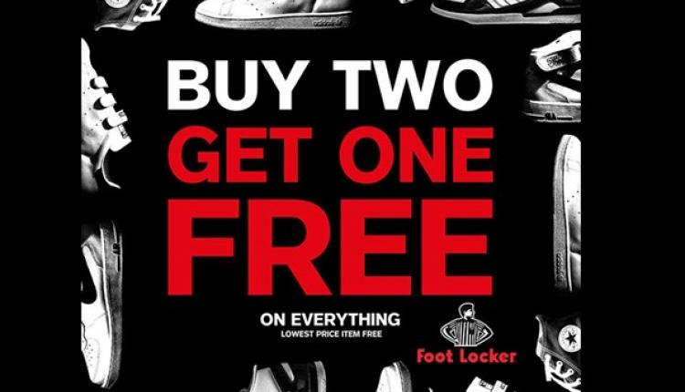 Buy 2 and get 1 Offer at Foot Locker, September 2017