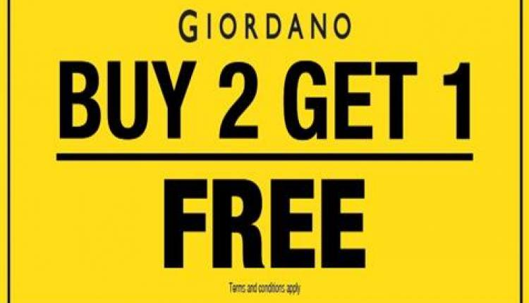 Buy 2 and get 1 Offer at Giordano, June 2018