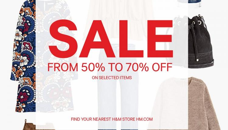 50% - 70% Sale at H&M, January 2016