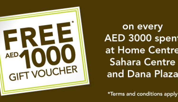 Spend 3000 to get a free gift voucher worth 1000 AED Offer at Home Center, March 2015