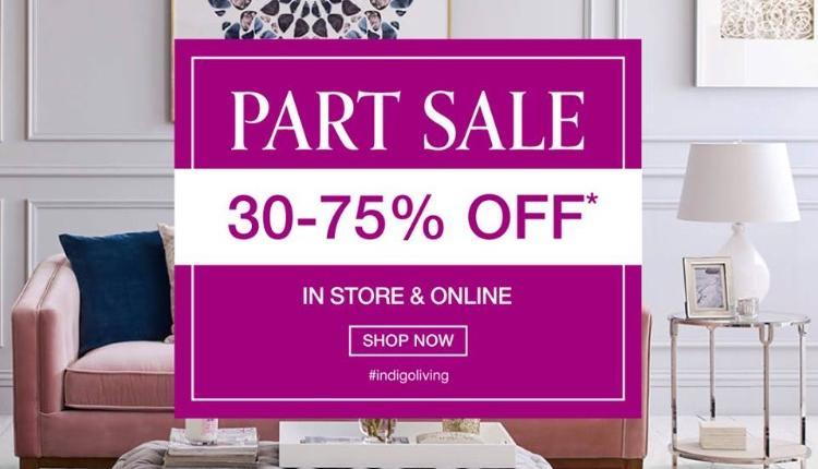 30% - 75% Sale at Indigo Living, January 2018