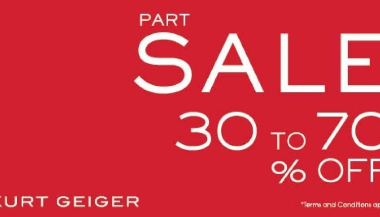 30% - 70% Sale at Kurt Geiger, May 2018