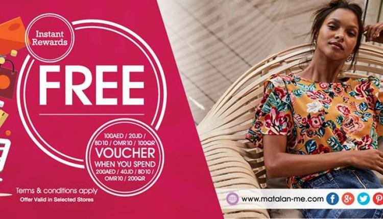 Spend 200 nd Get FREE 100AED worth of vouchers Offer at Matalan, May 2018
