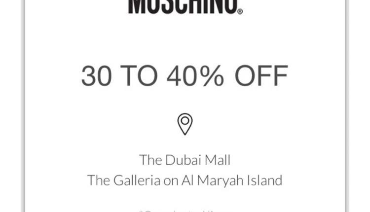 30% - 40% Sale at Moschino, May 2018