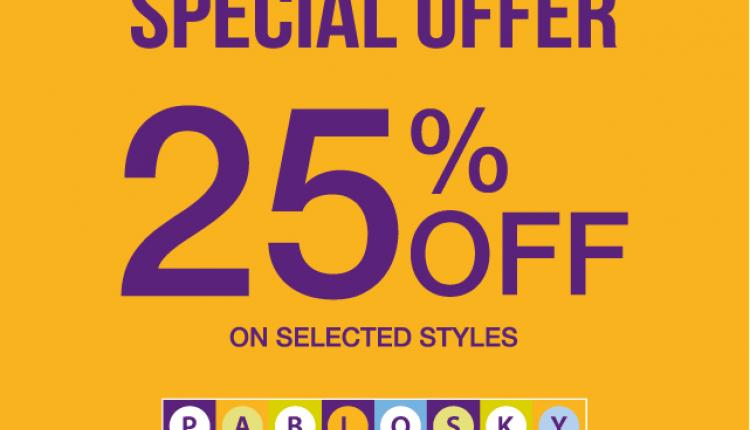 Up to 25% Sale at Pablosky, November 2014