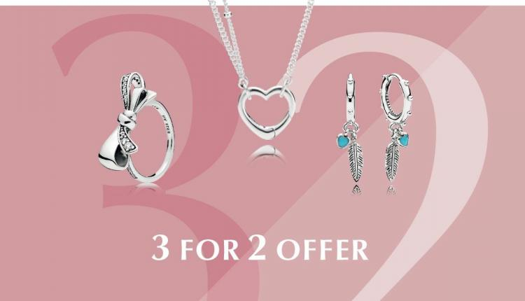 Buy 2 and get 1 Offer at Pandora, August 2018