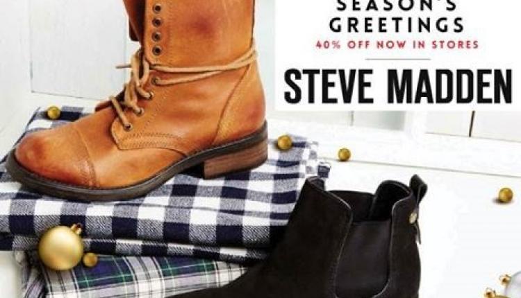 Up to 40% Sale at Steve Madden, December 2015