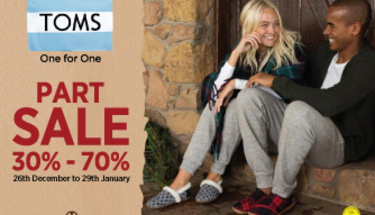30% - 70% Sale at Toms Shoes, January 2018