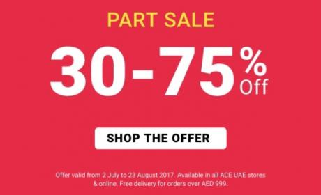 30% - 75% Sale at ACE, August 2017