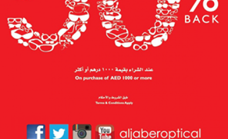 Spend 1000 and get 50% back on your next purchase on frames and sunglasses. Offer at Al Jaber Optical, May 2014
