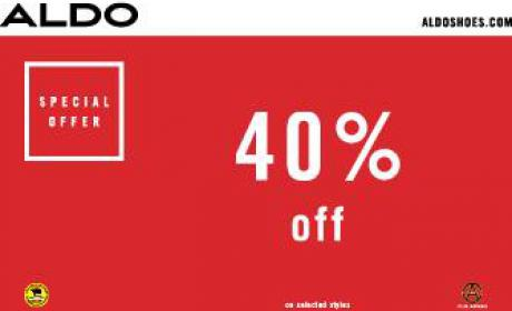 Up to 40% Sale at Aldo, May 2017