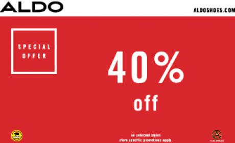 Up to 40% Sale at Aldo, May 2018
