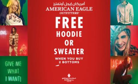 Buy 2 and Get a FREE hoodie / sweater Offer at American Eagle Outfitters, November 2017