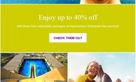 Up to 40% Sale at Aquaventure Waterpark, August 2017
