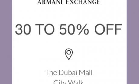 30% - 50% Sale at Armani Exchange, May 2018