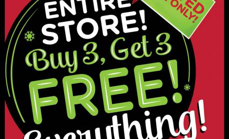 Buy 3 and get 3 Offer at Bath & Body Works, December 2017