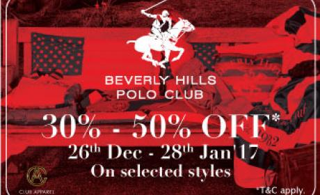 30% - 50% Sale at Beverly Hills Polo Club, January 2017