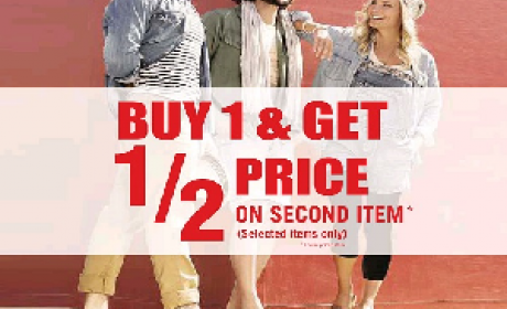 Buy 1 and get second one at half price. Offer at Birkenstock, July 2016