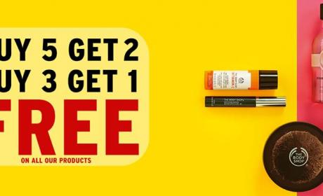 Buy 5 and get 2 Offer at The Body Shop, September 2017