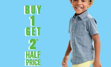 Buy 1 and get the 2nd product at Half price. Offer at THE CHILDREN'S PLACE, April 2017