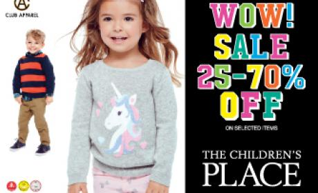 25% - 70% Sale at THE CHILDREN'S PLACE, February 2016