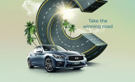 Spend 200 and get a chance to win 1 of 6 Infiniti Q50  in the weekly draw Offer at City Centre Al Shindagha, August 2017