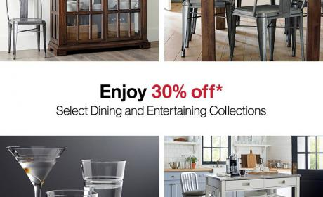 Up to 30% Sale at Crate & Barrel, September 2016