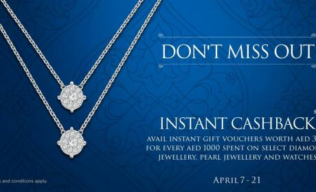 Spend 1000 and get instant cash back avail instant gift vouchers worth AED 300 Offer at Damas, April 2018