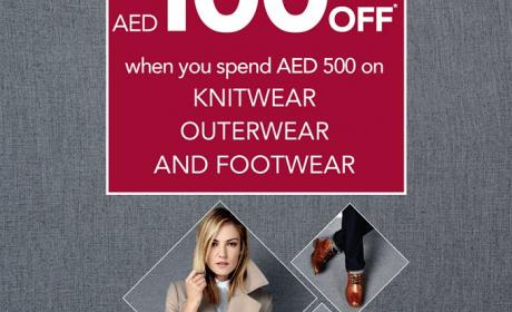 Spend 500 and get AED 100 off Offer at Debenhams, November 2015