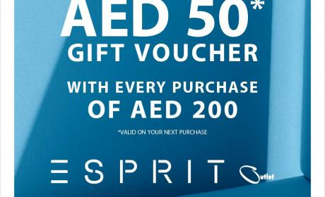 Spend 200 & get AED 50 back as a gift voucher Offer at Esprit, September 2016