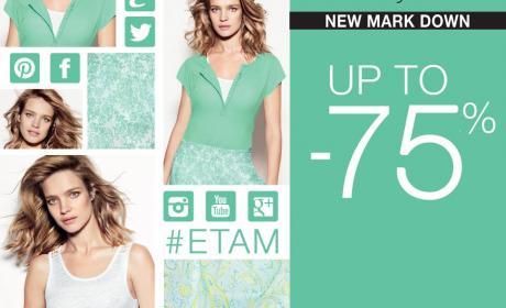 25% - 75% Sale at Etam Lingerie, July 2014
