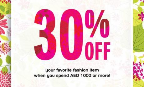 Spend 1000 and receive 30% off Offer at Galeries Lafayette, April 2016