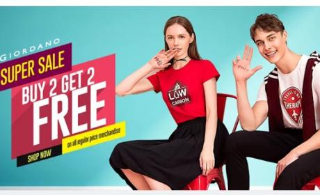 Buy 2 and get 2 Offer at Giordano, May 2018
