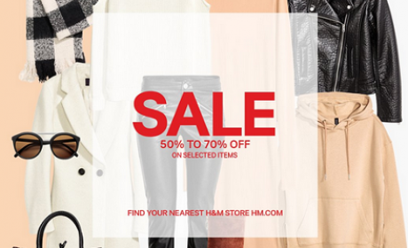 50% - 70% Sale at H&M, January 2017