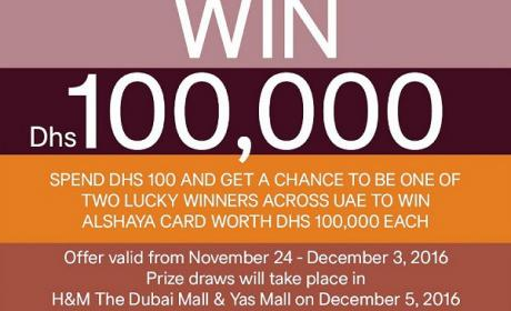 Spend 100 and get a chance to be one of 2 lucky winners across UAE Offer at H&M, December 2016