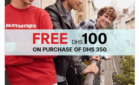 Spend 350 and get free DHS 100 Offer at H&M, August 2018