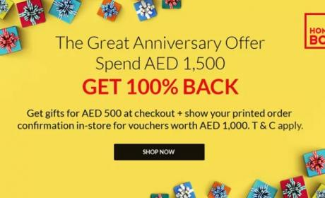Spend 1500 And get 100 %  back Offer at Home Box, March 2018