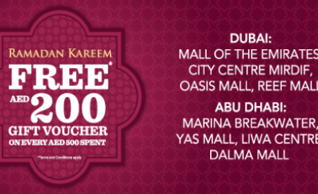 Spend 500 and get Free AED 200 gift vouche Offer at Home Center, June 2016