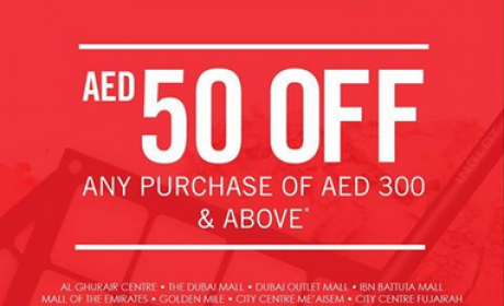 Spend 300 and get AED 50 off Offer at Inglot, April 2016