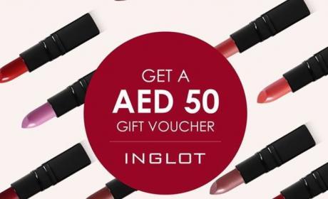 Spend 250 Get 50 AED gift voucher Offer at Inglot, April 2017
