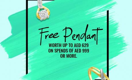 Spend 999 and get a FREE pendant worth up to AED 629. Offer at JEWEL CORNER, May 2018