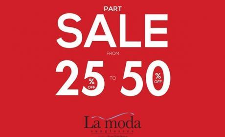 25% - 50% Sale at La Moda Sunglasses, August 2017