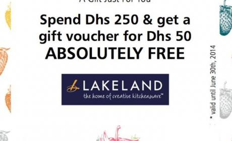 Spend 250 and receive AED 50 free gift voucher Offer at Lakeland, June 2014