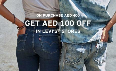 Spend 400 And get AED 100 off Offer at Levi's, April 2018