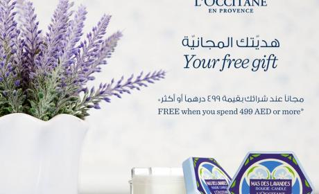Spend 499 and get a FREE Lavender scented candle. Offer at L'occitane, November 2017