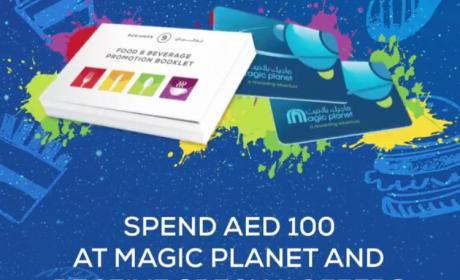 Spend 100 and receive a discount voucher booklet with offers from 18 food outlets Offer at Magic Planet, March 2018