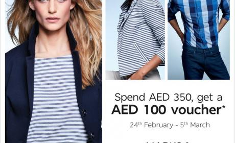 Spend 230 and Get an AED 100 voucher off your next purchase Offer at Marks & Spencer, July 2016