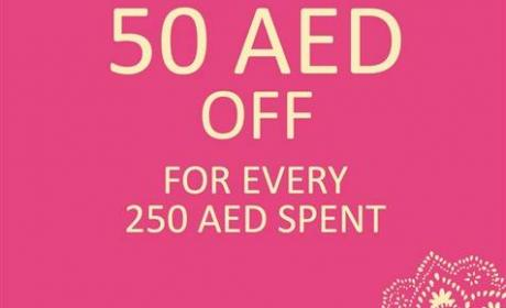 Spend 250 and get 50 AED off your purchase! Offer at Monsoon, March 2017