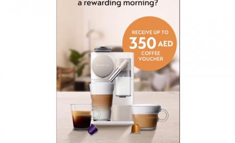 Buy 1 and receive up to 350 AED coffee voucher Offer at Nespresso, May 2018